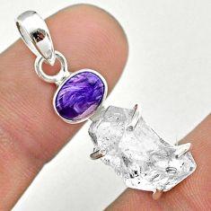 11.73cts natural herkimer diamond charoite (siberian) 925 silver pendant t49682