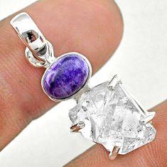 11.20cts natural herkimer diamond charoite (siberian) 925 silver pendant t49689