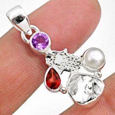 9.18cts natural herkimer diamond fancy silver hand of god hamsa pendant r61328
