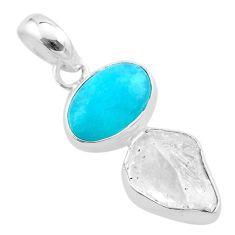 9.25cts natural herkimer diamond peruvian amazonite 925 silver pendant t48871