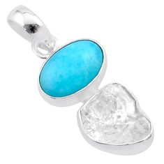10.22cts natural herkimer diamond peruvian amazonite 925 silver pendant t48900