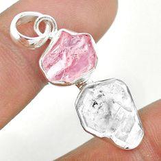 8.95cts natural herkimer diamond rose quartz raw 925 silver pendant t49179