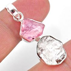 10.30cts natural herkimer diamond rose quartz raw 925 silver pendant t49210