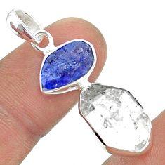 10.79cts natural herkimer diamond tanzanite raw 925 silver pendant t49947