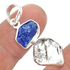 10.79cts natural herkimer diamond tanzanite raw 925 silver pendant t49956