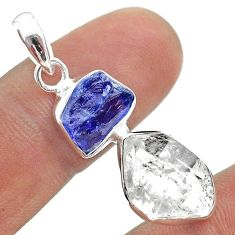 10.63cts natural herkimer diamond tanzanite raw 925 silver pendant t49957