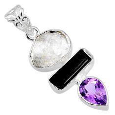 12.63cts natural herkimer diamond tourmaline rough 925 silver pendant r56646