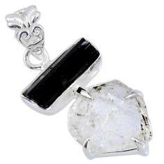 13.70cts natural herkimer diamond tourmaline rough 925 silver pendant r56667