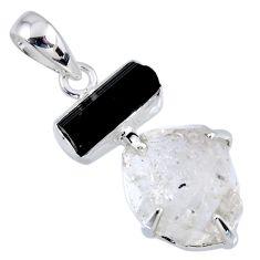 15.08cts natural herkimer diamond tourmaline rough 925 silver pendant r56672