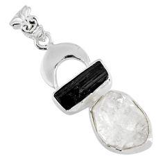 11.93cts natural herkimer diamond tourmaline rough 925 silver pendant r57083