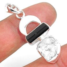 10.41cts natural herkimer diamond tourmaline raw 925 silver pendant r80813