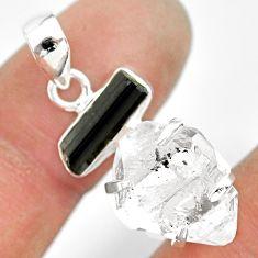 13.08cts natural herkimer diamond tourmaline raw 925 silver pendant r83039
