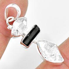 13.15cts natural herkimer diamond tourmaline raw 925 silver pendant r83079