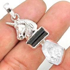 13.07cts natural herkimer diamond tourmaline raw silver horse pendant r80768