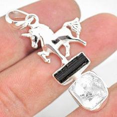 11.71cts natural herkimer diamond tourmaline raw silver horse pendant r80832