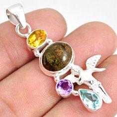 9.01cts natural honduran matrix opal 925 silver angel wings fairy pendant r76192