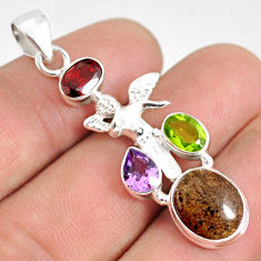 9.11cts natural honduran matrix opal 925 silver angel wings fairy pendant r76215