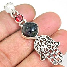 6.15cts natural honduran matrix opal 925 silver hand of god hamsa pendant r90398