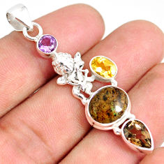 9.10cts natural honduran matrix opal amethyst 925 silver angel pendant r76165