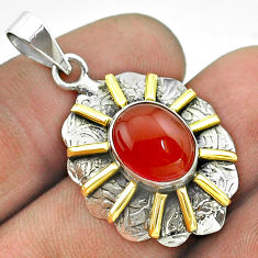 4.94cts natural honey onyx 925 sterling silver 14k gold pendant jewelry t55699