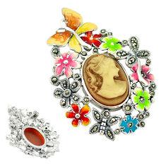 Natural honey onyx marcasite enamel 925 silver brooch pendant jewelry c18826