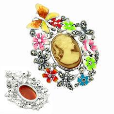 Natural honey onyx marcasite enamel 925 silver flower pendant jewelry c18838