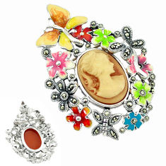 Natural honey onyx marcasite enamel 925 silver flower pendant jewelry c18830