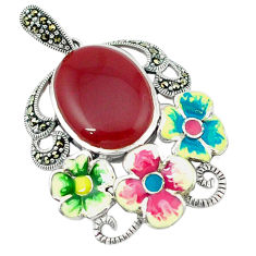 Natural honey onyx marcasite enamel 925 silver flower pendant a43721 c18908