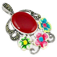 Natural honey onyx marcasite enamel 925 silver flower pendant a44208 c18904