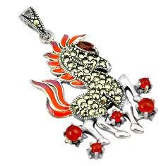Natural honey onyx marcasite enamel 925 silver horse pendant jewelry c16569