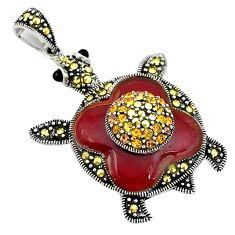 Natural honey onyx marcasite enamel topaz 925 silver turtle pendant c16513
