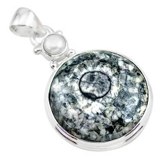 14.57cts natural horn coral pearl 925 sterling silver pendant jewelry t21613