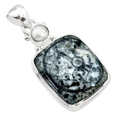 15.22cts natural horn coral pearl 925 sterling silver pendant jewelry t21623