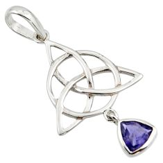 Natural iolite 925 sterling silver pendant triquetra - trinity knot r43556