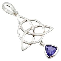 Natural iolite 925 sterling silver pendant triquetra - trinity knot r43557
