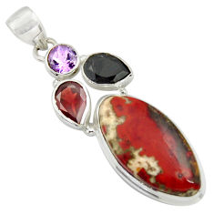 20.07cts natural jasper red garnet 925 sterling silver pendant jewelry r39131