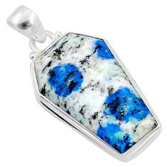 16.57cts natural k2 blue (azurite in quartz) 925 silver coffin pendant r66293