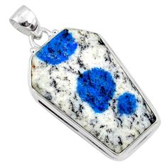 24.00cts natural k2 blue (azurite in quartz) 925 silver coffin pendant r66295