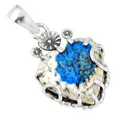 13.58cts natural k2 blue (azurite in quartz) 925 silver flower pendant r77858