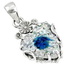 12.71cts natural k2 blue (azurite in quartz) 925 silver heart pendant r67598