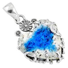 12.66cts natural k2 blue (azurite in quartz) 925 silver heart pendant r67599