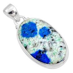 15.65cts natural k2 blue (azurite in quartz) 925 sterling silver pendant r66258