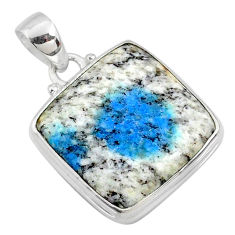 17.55cts natural k2 blue (azurite in quartz) 925 sterling silver pendant r66260