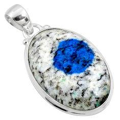 19.72cts natural k2 blue (azurite in quartz) 925 sterling silver pendant r66267
