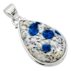 18.15cts natural k2 blue (azurite in quartz) 925 sterling silver pendant r66269