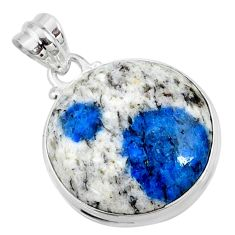 18.70cts natural k2 blue (azurite in quartz) 925 sterling silver pendant r66275