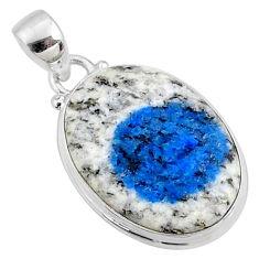 15.08cts natural k2 blue (azurite in quartz) 925 sterling silver pendant r66277