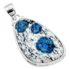 18.70cts natural k2 blue (azurite in quartz) 925 sterling silver pendant r66278