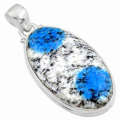 22.44cts natural k2 blue (azurite in quartz) 925 sterling silver pendant r66325