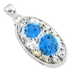 21.48cts natural k2 blue (azurite in quartz) 925 sterling silver pendant r66326